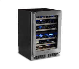 """24"""" High Efficiency Dual Zone Wine Cellar - Stainless Frame, Glass Door With Lock - Integrated Left Hinge"""
