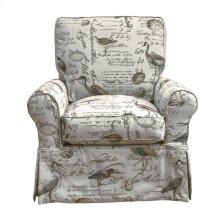 Sunset Trading Horizon Slipcovered Box Cushion Swivel Rocking Chair  Bird Script  Color: 854825