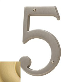 Satin Brass House Number - 5