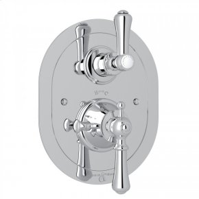 Polished Chrome Perrin & Rowe Georgian Era Oval Thermostatic Trim Plate With Volume Control with Georgian Era Solid Metal Lever