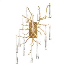 Brass and Glass Teardrop Two-Light Wall Sconce