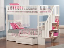 Woodland Staircase Bunk Bed Twin over Twin with Raised Panel Bed Drawers in White