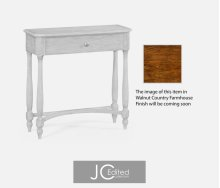 Country Walnut Small Console Table for Drawer