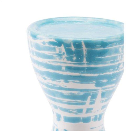 Washed Candle Holder Blue & White