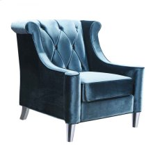 Barrister Chair In Blue Velvet With Crystal Buttons