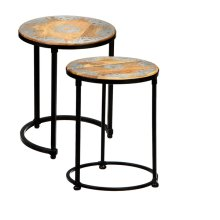 2 pc. set. Silver Floral Medallion Inlay Round Nested Table. (2 pc. set)