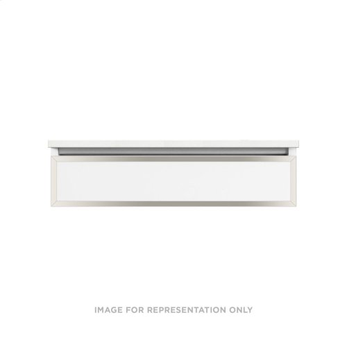 "Profiles 36-1/8"" X 7-1/2"" X 21-3/4"" Framed Slim Drawer Vanity In White With Polished Nickel Finish, Slow-close Plumbing Drawer and Selectable Night Light In 2700k/4000k Color Temperature"