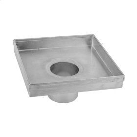 """Brushed Stainless - 6"""" x 6"""" Square Channel Drain Body"""