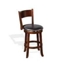 "24""H Cappuccino Swivel Barstool w/ Cushion Seat"