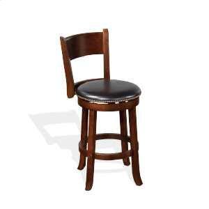 24h Cappuccino Swivel Barstool W Cushion Seat