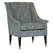 Brighton Upholstered Pattern Arm Chair with Wood and Metal Cap Feet