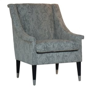 CRESTVIEW COLLECTIONSBrighton Upholstered Pattern Arm Chair with Wood and Metal Cap Feet