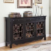 Black & Pewter 3-Door Scroll Console