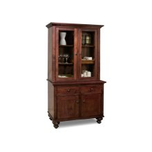 Georgetown Buffet&Hutch w/2 Wood & 2/Glass Doors & 2/Dwrs & Wood Gables & Wood Shelves