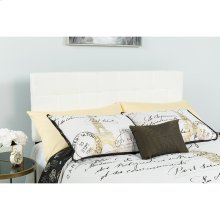 Bedford Tufted Upholstered King Size Headboard in White Fabric