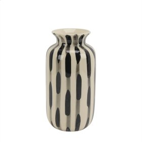 """Ceramic Vase 10"""", Black/white"""