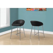 BARSTOOL - 2PCS / BLACK / CHROME BASE / BAR HEIGHT