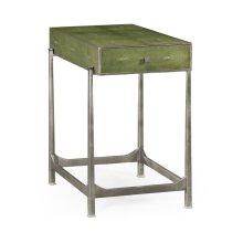 Green Faux Shagreen Silver Side Table