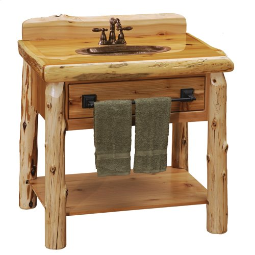 Open Vanity with Top - 33-inch - Natural Cedar - Liquid Glass