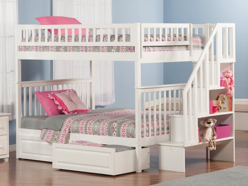 Woodland Staircase Bunk Bed Full over Full with Raised Panel Bed Drawers in White