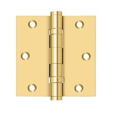 "3 1/2""x 3 1/2"" Square Hinge, Ball Bearings - PVD Polished Brass"