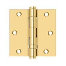 "3 1/2""x 3 1/2"" Square Hinge, Ball Bearings - PVD Polished Brass"