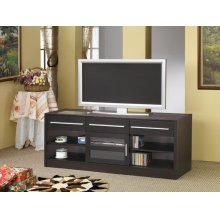Contemporary Cappuccino TV Console With Connect-it Power Drawer