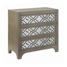 Rosemary Toasted Wheat 3 Drawer Geometric Mirror Pattern Chest