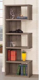 - Five tier bookcase finished in weathered grey- Constructed with MDF, particle board, and engineered veneer- Also available in cappuccino (#800069) and salvaged cabin (#800847) Product Image