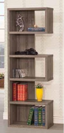 - Five tier bookcase finished in weathered grey- Constructed with MDF, particle board, and engineered veneer- Also available in cappuccino (#800069) and salvaged cabin (#800847)