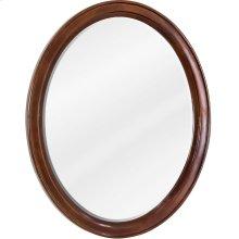 "22"" x 27-1/4"" Oval mirror with beveled glass and Mahogany finish."