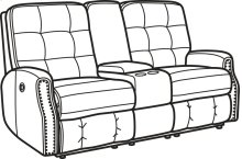 Devon Leather Power Reclining Loveseat with Console and Nailhead Trim