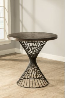 Kanister Round Counter-height Dining Table - Dark Pewter With Weathered Walnut Top