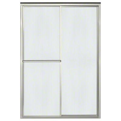 """Deluxe Sliding Shower Door - Height 70"""", Max. Opening 48-7/8"""" - Nickel with Rain Glass Texture"""