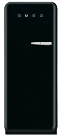 50'S Style Refrigerator with ice compartment, Black, Left hand hinge