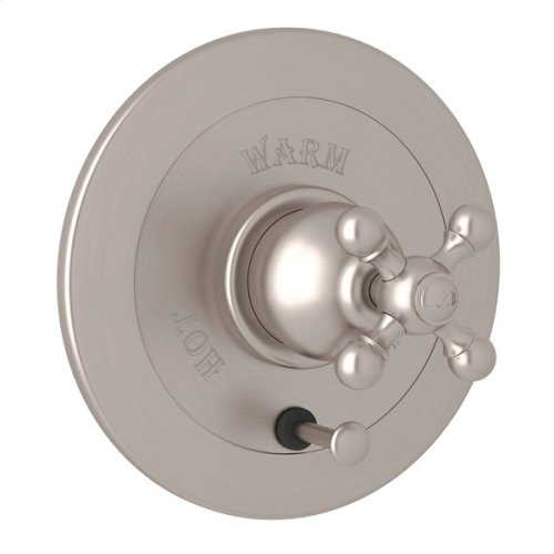 Satin Nickel Arcana Integrated Volume Control Pressure Balance Trim With Diverter with Arcana Series Only Cross Handle