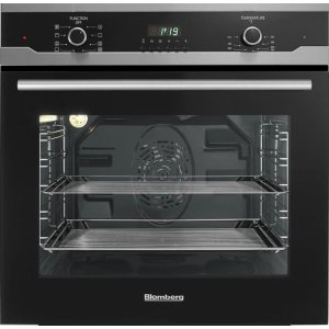 "Blomberg Appliances24"" Built in Wall Oven Single, black, full glass door moon design"