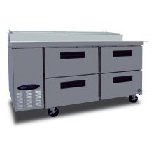 Refrigerator, Two Section Pizza Prep Table with Drawers