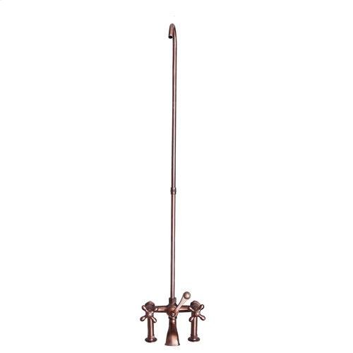 Tub Rim-Mounted Filler with Diverter and Riser - Cross / Oil Rubbed Bronze