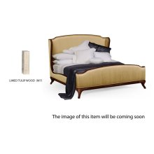 Cali King Louis XV Limed Tulip Bed, Upholstered in Muscatelle Silk