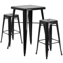 23.75'' Square Black Metal Indoor-Outdoor Bar Table Set with 2 Square Seat Backless Stools