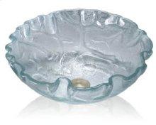 Glass Vessel Clear Textured Round