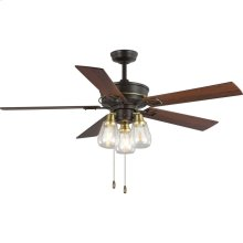 """Teasley 56"""" Five-Blade Ceiling Fan With Glass Shades"""