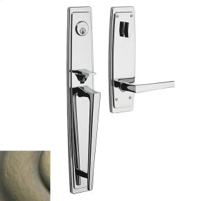 Satin Brass and Black Palm Springs Full Escutcheon Handleset
