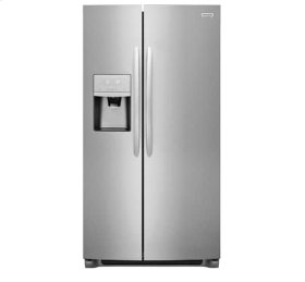 Frigidaire 4pc. Stainless Steel kitchen package with 22.2 cu.ft. counter depth Side-by-Side fridge and electric range