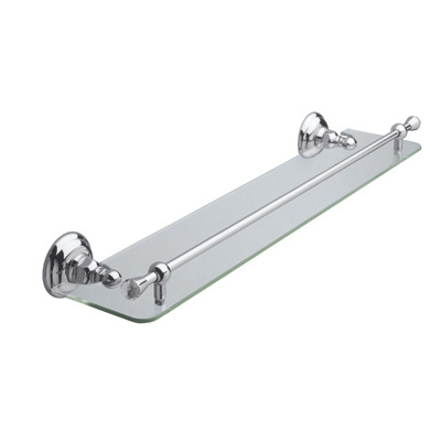 "Polished Chrome Country Crystal 24"" Glass Vanity Shelf"