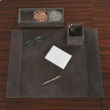 Desk Organizer-Triple-Grey Suede
