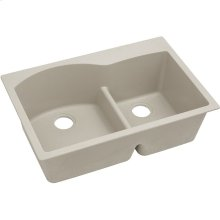 "Elkay Quartz Classic 33"" x 22"" x 10"", Offset 60/40 Double Bowl Drop-in Sink with Aqua Divide, Putty"