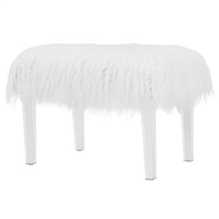 Scarlett KD Faux Fur Stool Acrylic Base, White