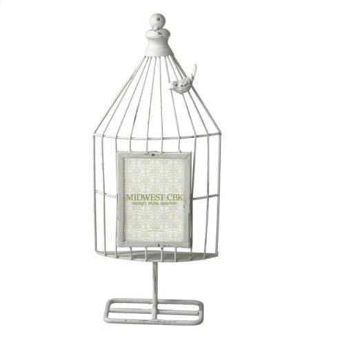 Distressed Ivory Bird Cage 3 1/2x5 Frame